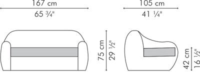 ラブソファ・2人用ソファ BALOU サイズ