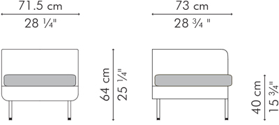 アームチェア・1人用ソファ CABARET サイズ