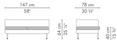 ラブソファ・2人用ソファ ローバック CABARET サイズ