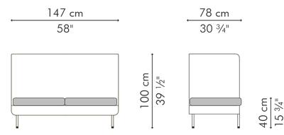 ラブソファ・2人用ソファ ハイバック CABARET サイズ