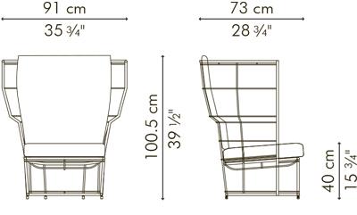 アームチェア・1人用ソファ CALYX サイズ
