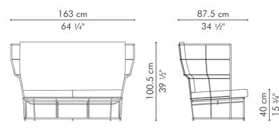 ラブソファ・2人用ソファ CALYX サイズ