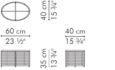 楕円コーヒー・ローテーブル スモール LOLAH サイズ
