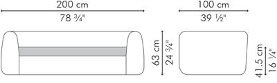 ラブソファ・2人用ソファ MATILDA サイズ