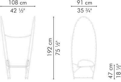ガーデンアームチェア PAPILLON サイズ